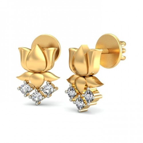 Solid Gold New Stud Lotus Earrings