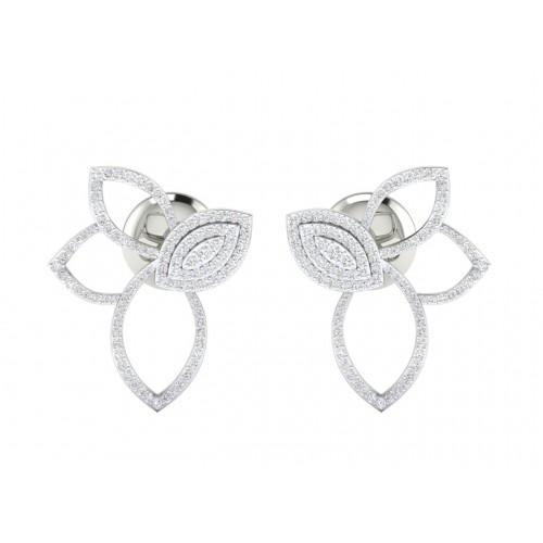 18K Solid Gold Flower Stud Earrings