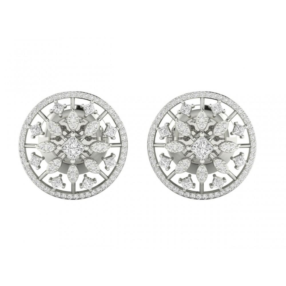 18K Solid Princess Cut Certified Diamond Stud