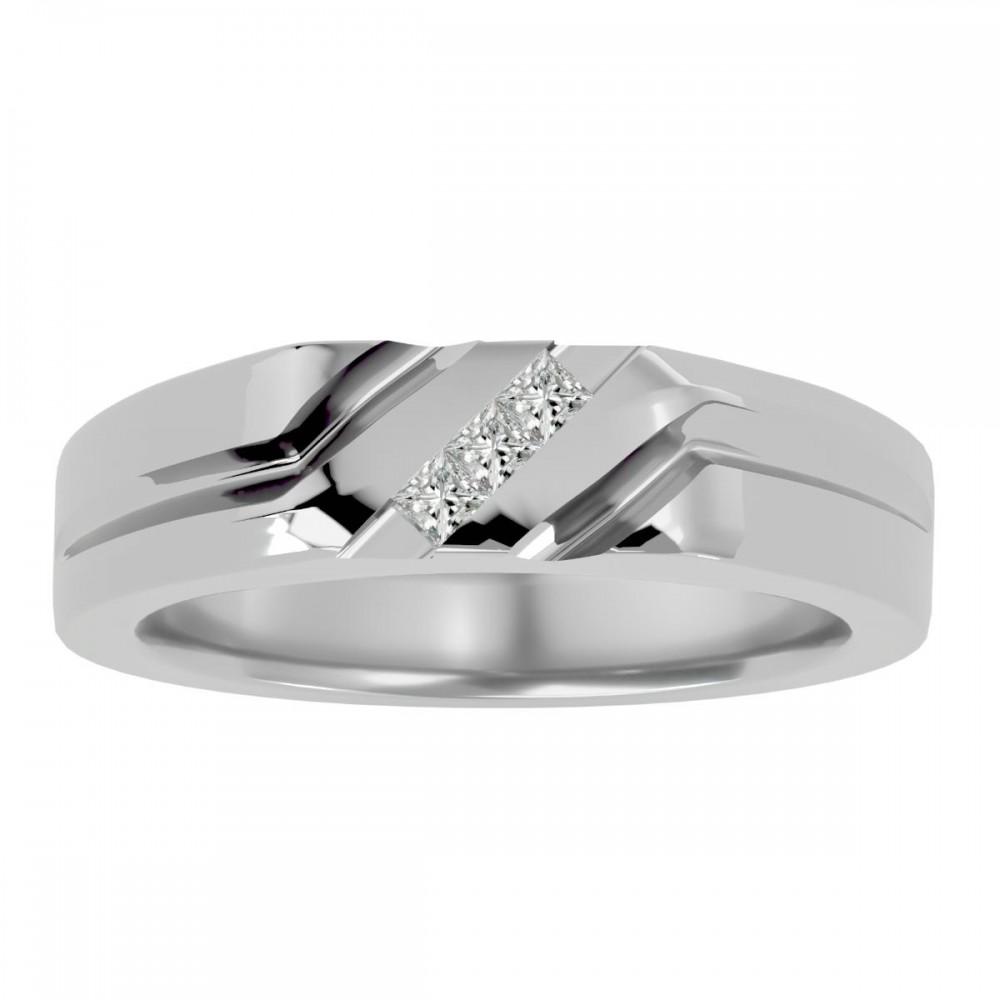 Incomparable 3 Princess Cut Natural Diamond Wedding Ring