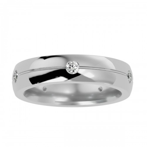 Crescent 5 Side Stone Shape Natural Diamond Wedding Ring For Her