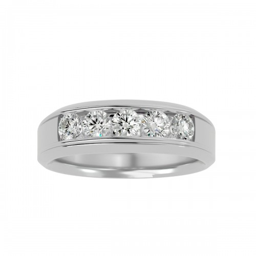 Aurora 5 Round Cut Natural Diamond Wedding Ring For Her