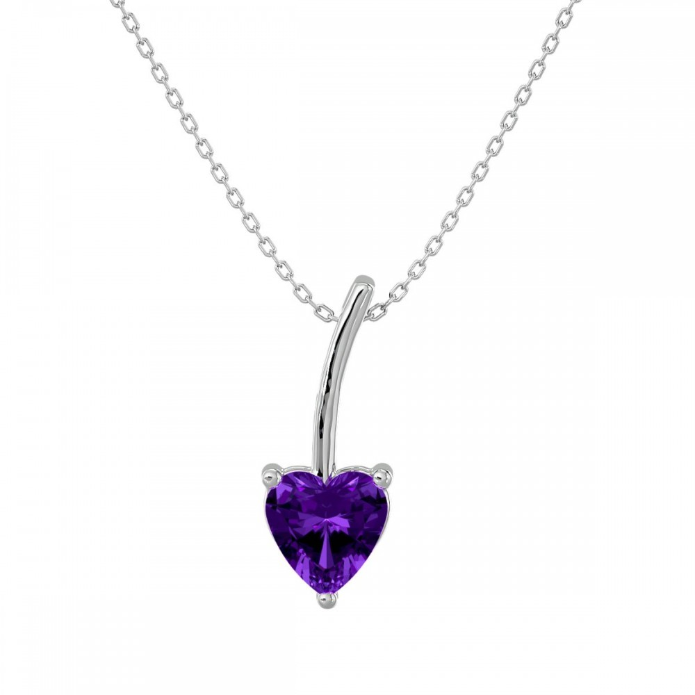 The Amethyst February Birthstone Heart Necklace