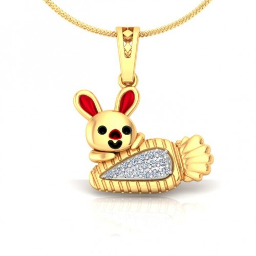 Rabbit Kids Design Diamond Pendant