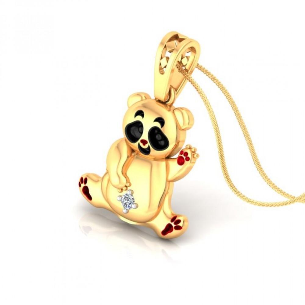 Smiley Panda Kids Design Diamond Pendant