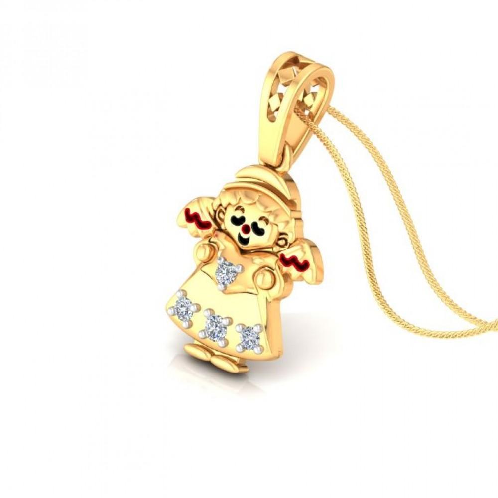 Little Girl Kids Design Diamond Pendant