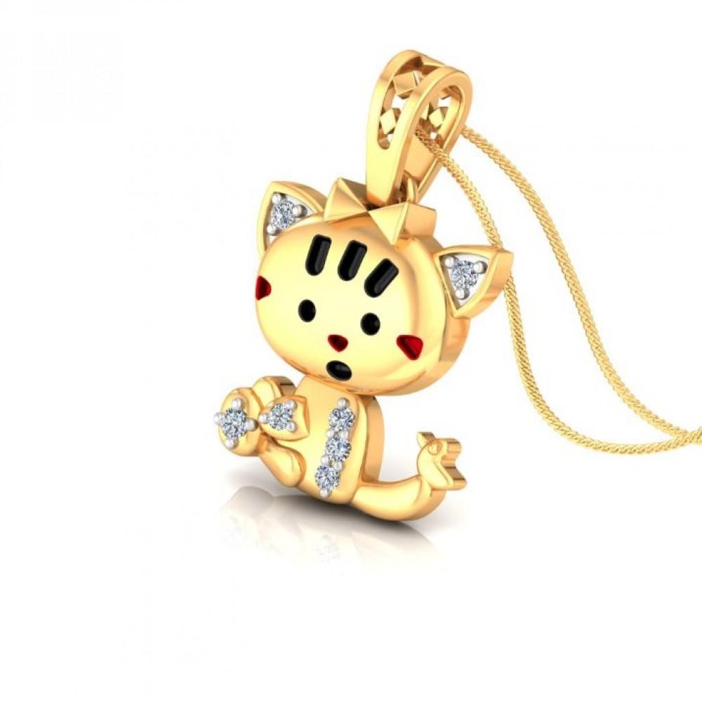 Shocking Cat Kids Design Diamond Pendant